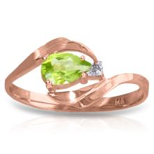Genuine 0.41 ctw Peridot & Diamond Ring Jewelry 14KT Rose Gold - GG#1331 - REF#26X6M