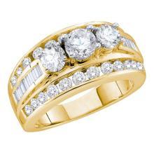 3CT Diamond Bridal 14KT Ring Yellow Gold - REF-509M9F