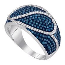1.0CTW White and Blue Diamond Anniversary 10KT Ring White Gold - REF-67M4F