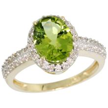 Natural 2.3 ctw Peridot & Diamond Engagement Ring 14K Yellow Gold - SC#CY411139 - REF#36N3Y