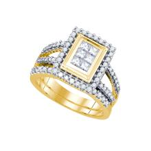 1.0CT Diamond Invisible 14KT Ring Yellow Gold - REF-124A4X
