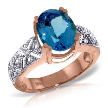 Genuine 3.2 ctw Blue Topaz & Diamond Ring Jewelry 14KT Rose Gold - GG#3044 - REF#112W7Y
