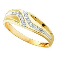 0.10CT Diamond Mens 10KT Ring Yellow Gold - REF-12Z2R