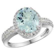 Natural 2.56 ctw Aquamarine & Diamond Engagement Ring 10K White Gold - SC#CW912138 - REF#37T2H