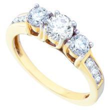 1.0CT Diamond Anniversary 14KT Ring Yellow Gold - REF-149K9M