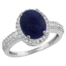 Natural 2.56 ctw Lapis & Diamond Engagement Ring 14K White Gold - SC#CW446138 - REF#34Z6W