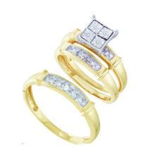 0.02CT Diamond Trio Set 10KT Ring Yellow Gold - REF-30M2F