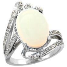 Natural 5.76 ctw opal & Diamond Engagement Ring 14K White Gold - SC#R309911W20 - REF#82Z3W