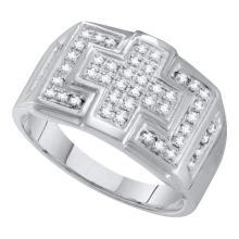 0.33CT Diamond Mens 10KT Ring White Gold - REF-26N3A