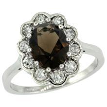 Natural 2.34 ctw Smoky-topaz & Diamond Engagement Ring 14K White Gold - SC#C319661W07 - REF#70T8H