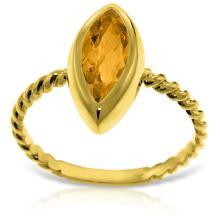 Genuine 1.70 ctw Citrine Ring Jewelry 14KT Yellow Gold - GG#5441 - REF#39V3W