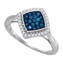 0.33CTW White and Blue Diamond Anniversary 10KT Ring White Gold - REF-19H4N