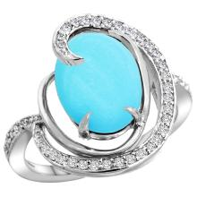 Natural 6.53 ctw turquoise & Diamond Engagement Ring 14K White Gold - SC#R289231W18 - REF#78P7Z