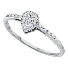 0.05CT Diamond Anniversary 10KT Ring White Gold - REF-12N2A
