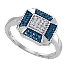0.20CTW White and Blue Diamond Anniversary 10KT Ring White Gold - REF-18A2X