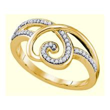 0.02CT Diamond Heart 10KT Ring Yellow Gold - REF-20N9A