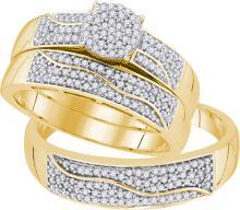 0.50CT Diamond Trio Set 10KT Ring Yellow Gold - REF-64H4N
