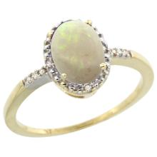 Natural 0.73 ctw Opal & Diamond Engagement Ring 10K Yellow Gold - SC#CY920113 - REF#14Z6W