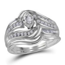 0.35CT Diamond Bridal 14KT Ring White Gold - REF-75Z2R