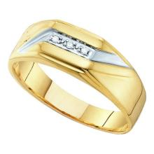 0.03CT Diamond Mens 10KT Ring Yellow Gold - REF-18V2Y