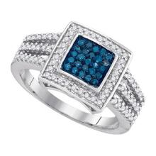 0.50CTW White and Blue Diamond Anniversary 10KT Ring White Gold - REF-37K5M