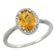 Natural 1.22 ctw Whisky-quartz & Diamond Engagement Ring 14K White Gold - SC#CW426101 - REF#23F3V
