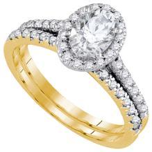 1.20CT Diamond Bridal 14KT Ring Yellow Gold - REF-352K4M
