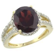 Natural 3.47 ctw Garnet & Diamond Engagement Ring 14K Yellow Gold - SC#CY410106 - REF#43M7P