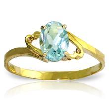 Genuine 0.75 ctw Aquamarine Ring Jewelry 14KT Yellow Gold - GG#1858 - REF#22Y5F