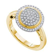 0.25CT Diamond Micro-Pave 10KT Ring Yellow Gold - REF-30K2M