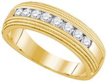 0.50CT Diamond Machine-Set 10KT Ring Yellow Gold - REF-59Z9R