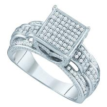 0.35CT Diamond Micro-Pave 10KT Ring White Gold - REF-44X9T