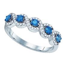 0.50CTW White and Blue Diamond Anniversary 10KT Ring White Gold - REF-26X9T