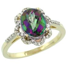 Natural 1.85 ctw Mystic-topaz & Diamond Engagement Ring 14K Yellow Gold - SC#CY408105 - REF#33W6A