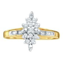 0.10CT Diamond Cluster 10KT Ring Yellow Gold - REF-11Z3R