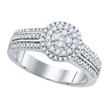 0.50CT Diamond Flower 10KT Ring White Gold - REF-52A4X