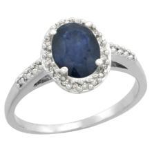 Natural 1.57 ctw Blue-sapphire & Diamond Engagement Ring 14K White Gold - SC#CW416137 - REF#33F4V