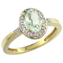 Natural 1.08 ctw Green-amethyst & Diamond Engagement Ring 14K Yellow Gold - SC#CY402150 - REF#27P2Z