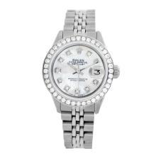 Rolex Pre-owned 26mm Womens Custom White MOP Stainless Steel - REF-470W2Y