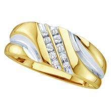 0.12 CTW Mens Diamond Wedding Anniversary Ring 10KT Two-tone Gold - REF-14Y9X