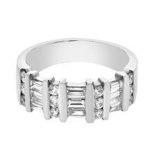 Platinum 1.1CTW Baguette Fashion Ring - REF-183R6H