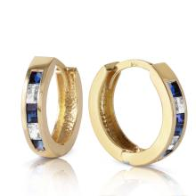 Genuine 1.26 ctw Sapphire & White Topaz Earrings Jewelry 14KT Yellow Gold - REF-39V3W