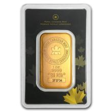 One pc. 1 oz .9999 Fine Gold Bar - Royal Canadian Mint In Assay