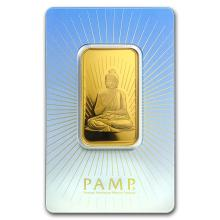 One pc. 1 oz .9999 Fine Gold Bar - PAMP Suisse Buddha In Assay