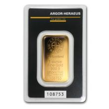 One pc. 1 oz .9999 Fine Gold Bar - Argor-Heraeus KineBar Design In Assay