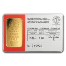 One pc. 1 oz .9999 Fine Gold Bar - Vintage Argor-Heraeus In Assay