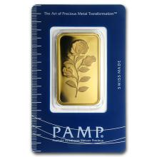 One pc. 1 oz .9999 Fine Gold Bar - PAMP Suisse Rosa In Assay