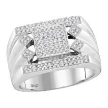 0.39 CTW Mens Diamond Square Center Cluster Ring 10KT White Gold - REF-82K4W