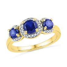 1.43 CTW Created Blue Sapphire 3-stone Diamond Ring 10KT Yellow Gold - REF-25X4Y