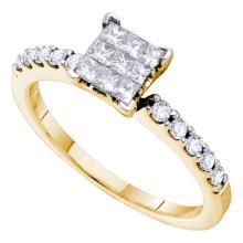 0.49 CTW Princess Diamond Square Cluster Slender Ring 14KT Yellow Gold - REF-52K4W